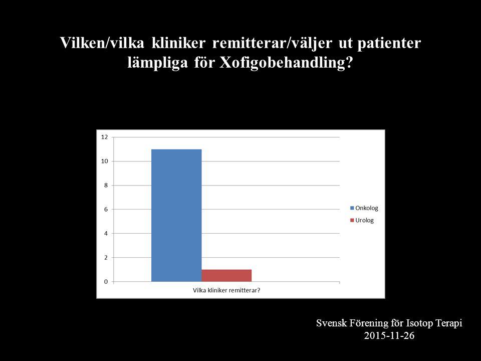 Svensk Förening för Isotop Terapi 2015-11-26 Vilken/vilka kliniker remitterar/väljer ut patienter lämpliga för Xofigobehandling