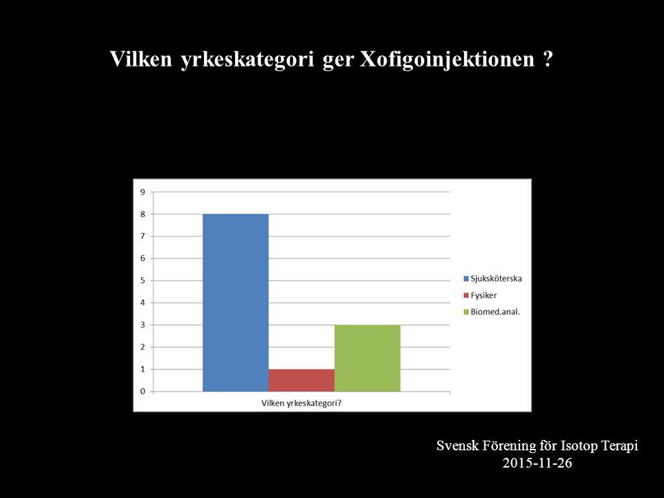 Svensk Förening för Isotop Terapi 2015-11-26 Vilken yrkeskategori ger Xofigoinjektionen