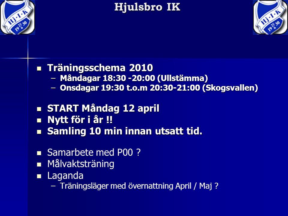 Hjulsbro IK Träningsschema 2010 Träningsschema 2010 –Måndagar 18:30 -20:00 (Ullstämma) –Onsdagar 19:30 t.o.m 20:30-21:00 (Skogsvallen) START Måndag 12