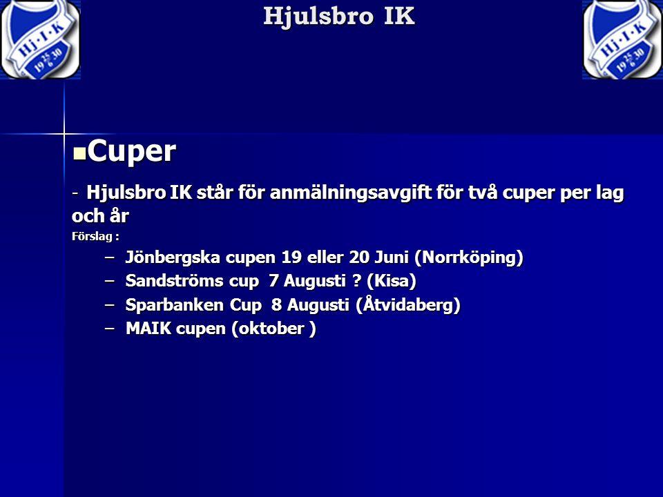 Hjulsbro IK Cuper Cuper - Hjulsbro IK står för anmälningsavgift för två cuper per lag och år Förslag : –Jönbergska cupen 19 eller 20 Juni (Norrköping) –Sandströms cup 7 Augusti .