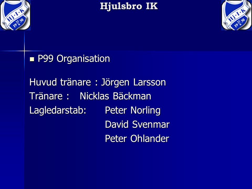 Hjulsbro IK P99 Organisation Huvud tränare : Jörgen Larsson P99 Organisation Huvud tränare : Jörgen Larsson Tränare : Nicklas Bäckman Lagledarstab:Peter Norling David Svenmar Peter Ohlander