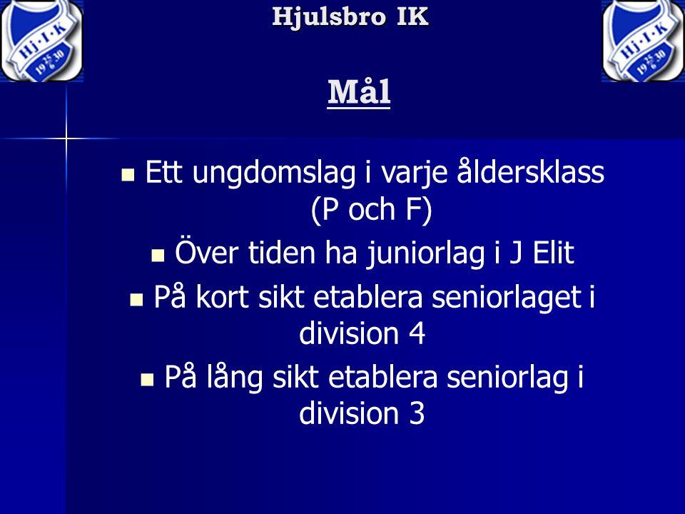 Hjulsbro IK Mål Ett ungdomslag i varje åldersklass (P och F) Över tiden ha juniorlag i J Elit På kort sikt etablera seniorlaget i division 4 På lång sikt etablera seniorlag i division 3