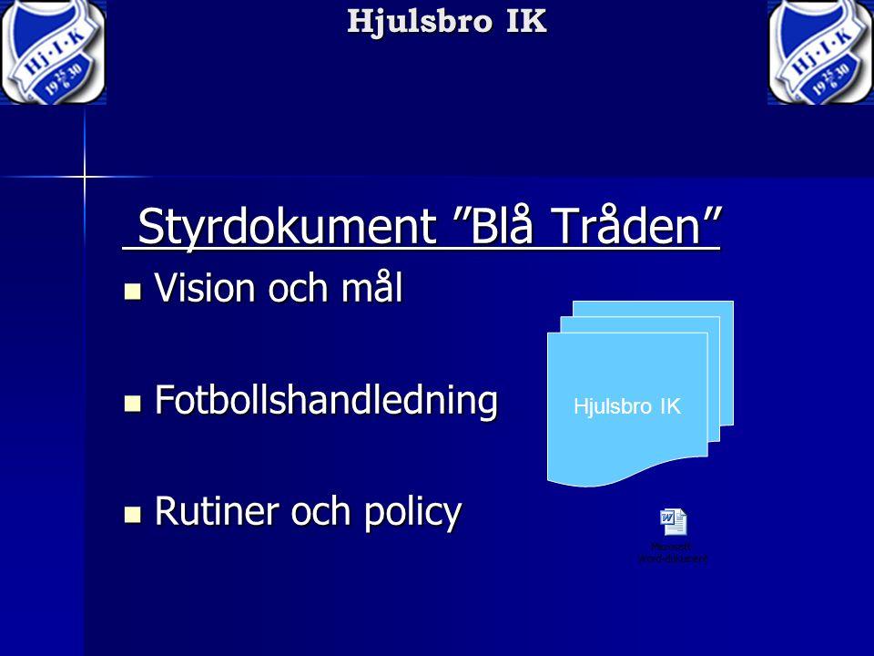 """Hjulsbro IK Styrdokument """"Blå Tråden"""" Styrdokument """"Blå Tråden"""" Vision och mål Vision och mål Fotbollshandledning Fotbollshandledning Rutiner och poli"""
