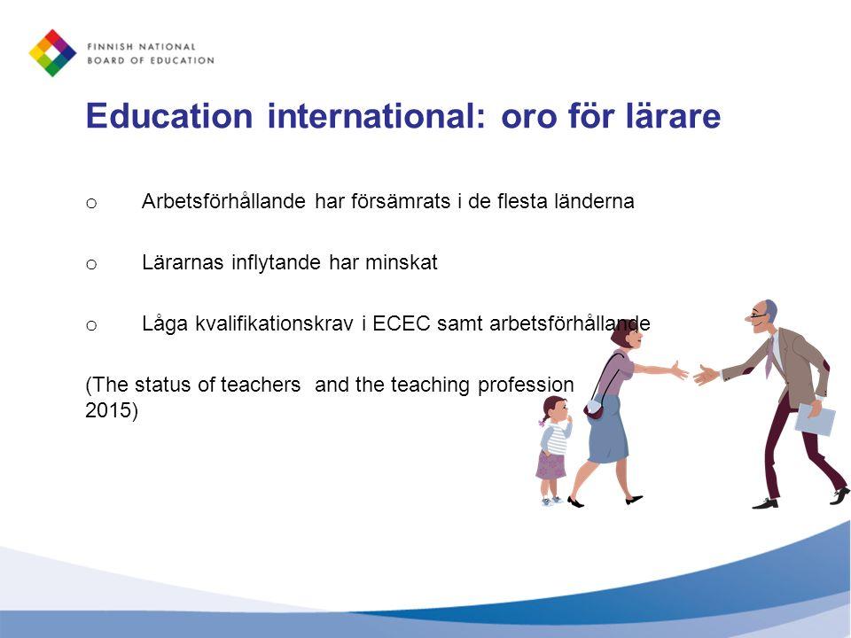 Education international: oro för lärare o Arbetsförhållande har försämrats i de flesta länderna o Lärarnas inflytande har minskat o Låga kvalifikation