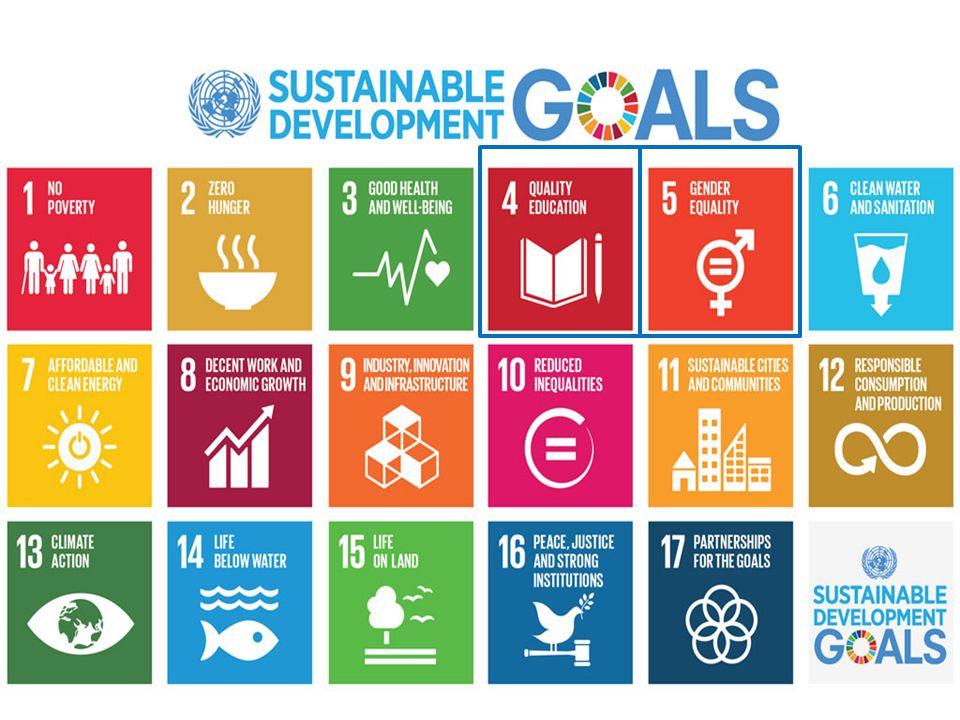Mål 4: Se till att alla får en bra utbildning och främja livslångt lärande för alla Mål 5: Uppnå jämställdhet och stärka alla kvinnors och flickors egenmakt