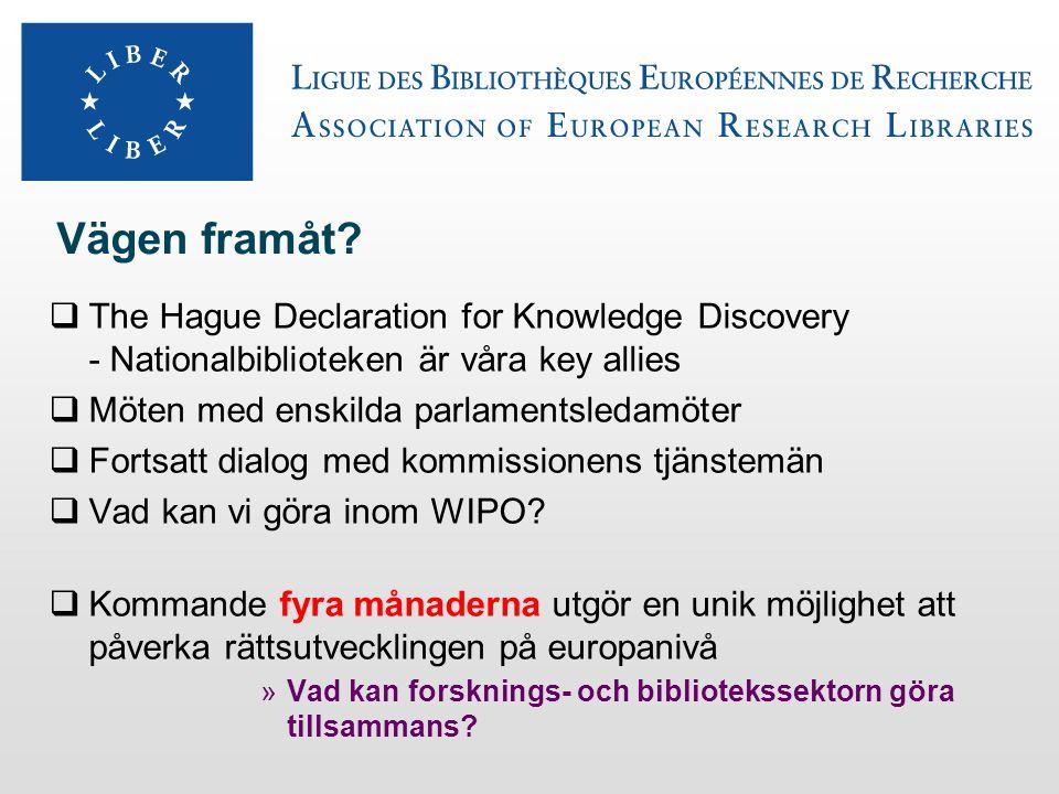 Vägen framåt?  The Hague Declaration for Knowledge Discovery - Nationalbiblioteken är våra key allies  Möten med enskilda parlamentsledamöter  Fort