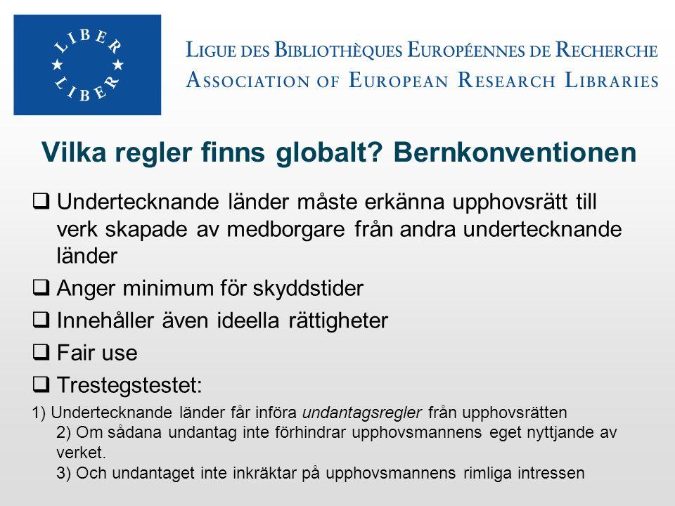 Vilka regler finns globalt? Bernkonventionen  Undertecknande länder måste erkänna upphovsrätt till verk skapade av medborgare från andra undertecknan