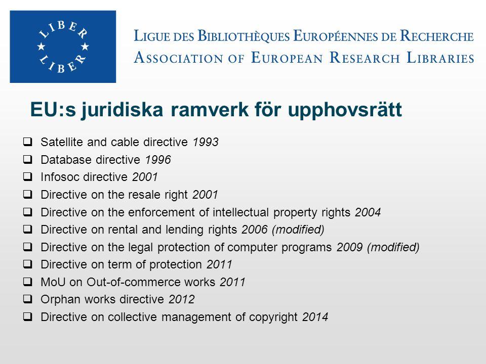 Infosoc-direktivet (Copyrightdirektivet) 2001  Innehåller ett antal (23) undantagsregler från upphovsrätten, bland annat:  Exemplarframställning för privat bruk  Reproduktion för bibliotek  Illustration i undervisning och forskning  Citaträtt för kritik och recensioner  Användning för icke-kommersiell forskning  Obs.