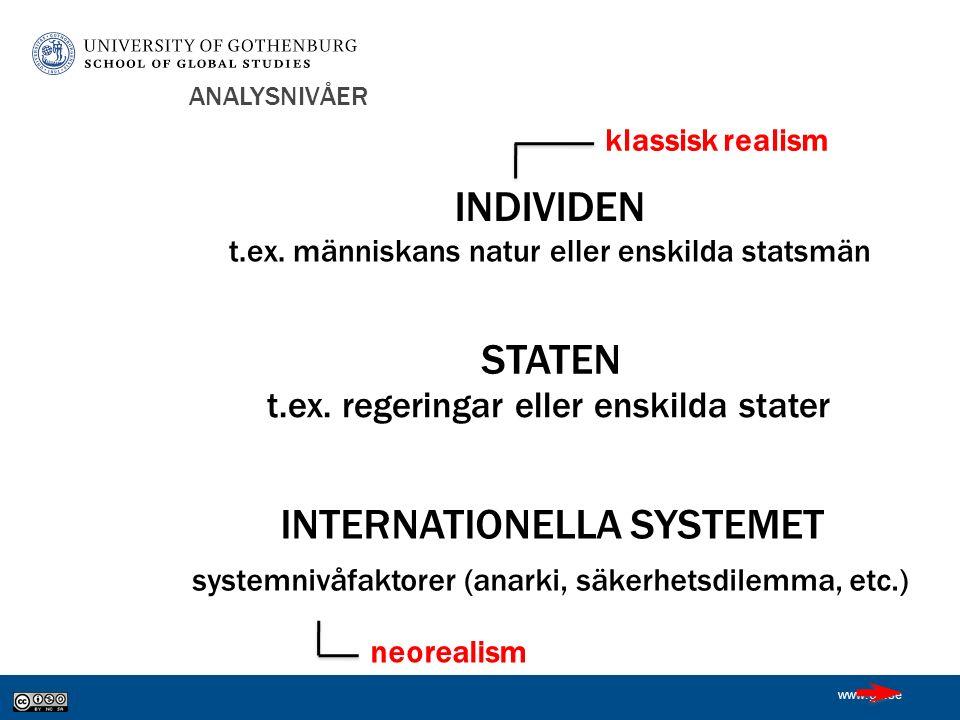 www.gu.se ANALYSNIVÅER INDIVIDEN STATEN INTERNATIONELLA SYSTEMET t.ex.