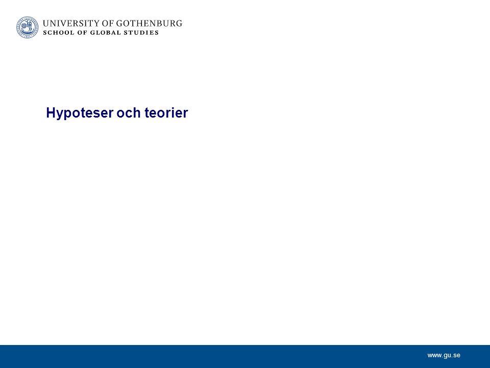 www.gu.se Hypoteser Hypoteser är antaganden, icke verifierade påståenden.