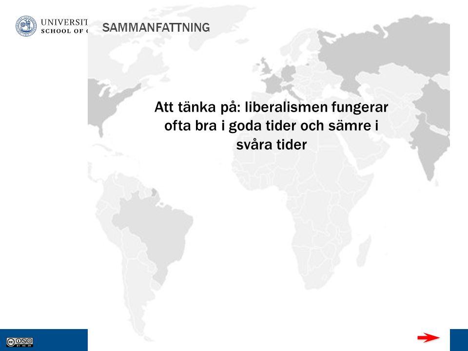 www.gu.se SAMMANFATTNING Att tänka på: liberalismen fungerar ofta bra i goda tider och sämre i svåra tider