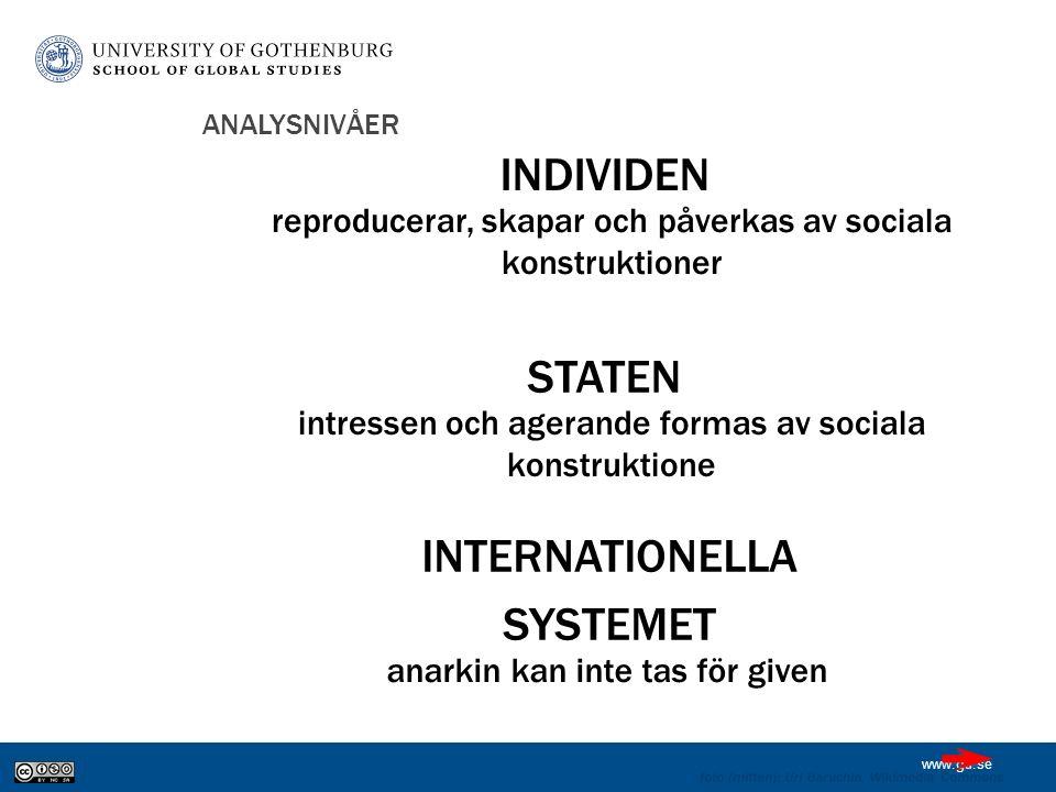 www.gu.se ANALYSNIVÅER INDIVIDEN STATEN INTERNATIONELLA SYSTEMET foto (mitten): Uri Baruchin, Wikimedia Commons reproducerar, skapar och påverkas av sociala konstruktioner intressen och agerande formas av sociala konstruktione anarkin kan inte tas för given