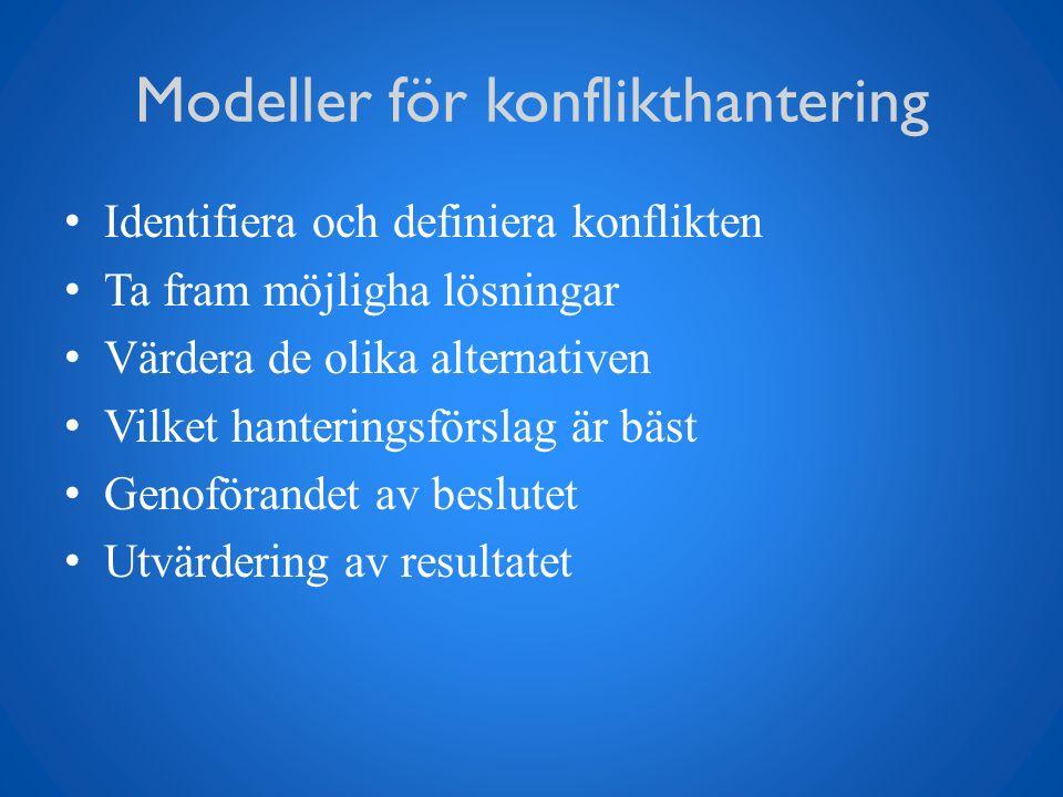 Modeller för konflikthantering Identifiera och definiera konflikten Ta fram möjligha lösningar Värdera de olika alternativen Vilket hanteringsförslag är bäst Genoförandet av beslutet Utvärdering av resultatet