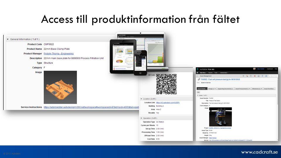 www.cadcraft.se © 2013 Autodesk Access till produktinformation från fältet