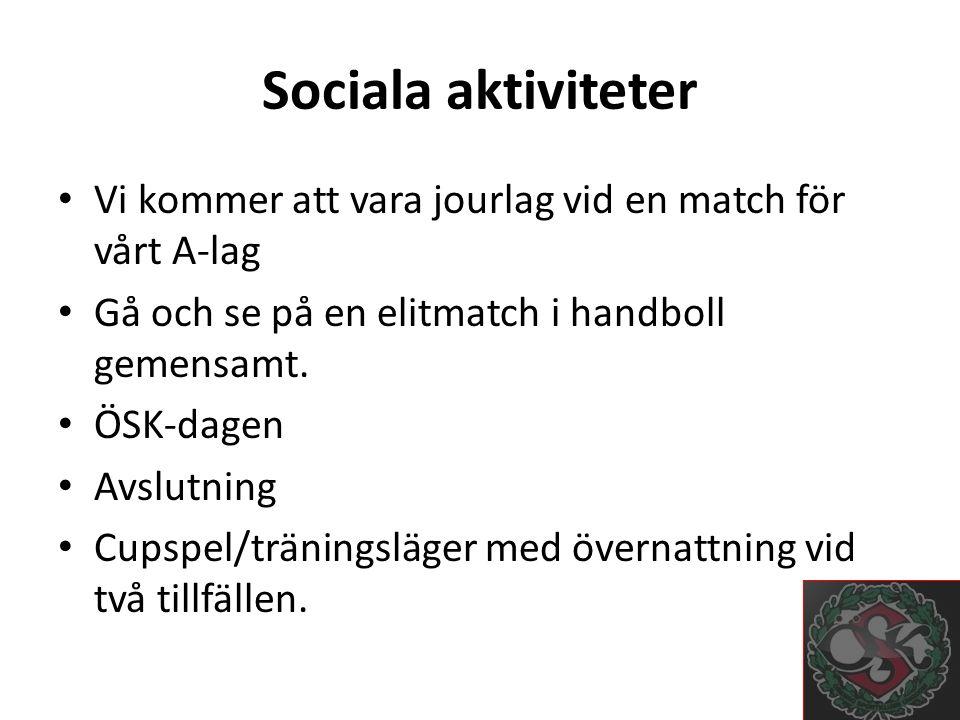 Sociala aktiviteter Vi kommer att vara jourlag vid en match för vårt A-lag Gå och se på en elitmatch i handboll gemensamt.