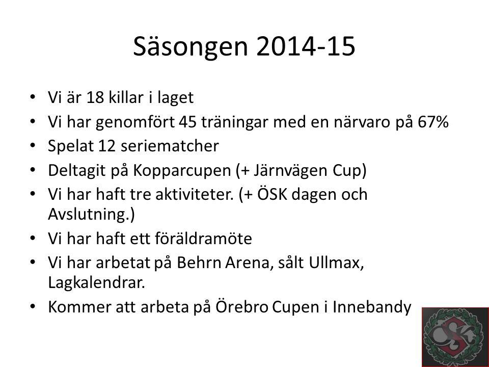 Säsongen 2014-15 Vi är 18 killar i laget Vi har genomfört 45 träningar med en närvaro på 67% Spelat 12 seriematcher Deltagit på Kopparcupen (+ Järnvägen Cup) Vi har haft tre aktiviteter.