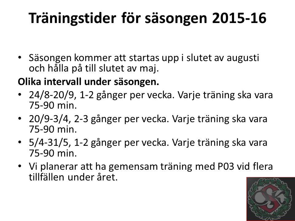 Träningstider för säsongen 2015-16 Säsongen kommer att startas upp i slutet av augusti och hålla på till slutet av maj.