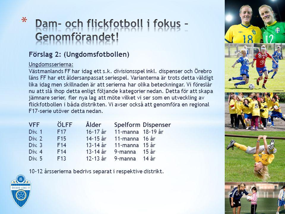 Förslag 2: (Ungdomsfotbollen) Ungdomsserierna: Västmanlands FF har idag ett s.k. divisionsspel inkl. dispenser och Örebro läns FF har ett åldersanpass