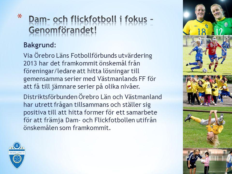 Bakgrund: Via Örebro Läns Fotbollförbunds utvärdering 2013 har det framkommit önskemål från föreningar/ledare att hitta lösningar till gemensamma serier med Västmanlands FF för att få till jämnare serier på olika nivåer.
