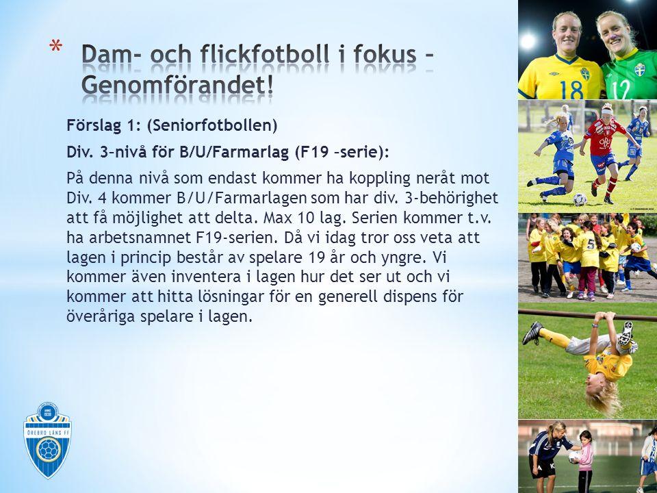 Förslag 1: (Seniorfotbollen) Div. 3–nivå för B/U/Farmarlag (F19 –serie): På denna nivå som endast kommer ha koppling neråt mot Div. 4 kommer B/U/Farma