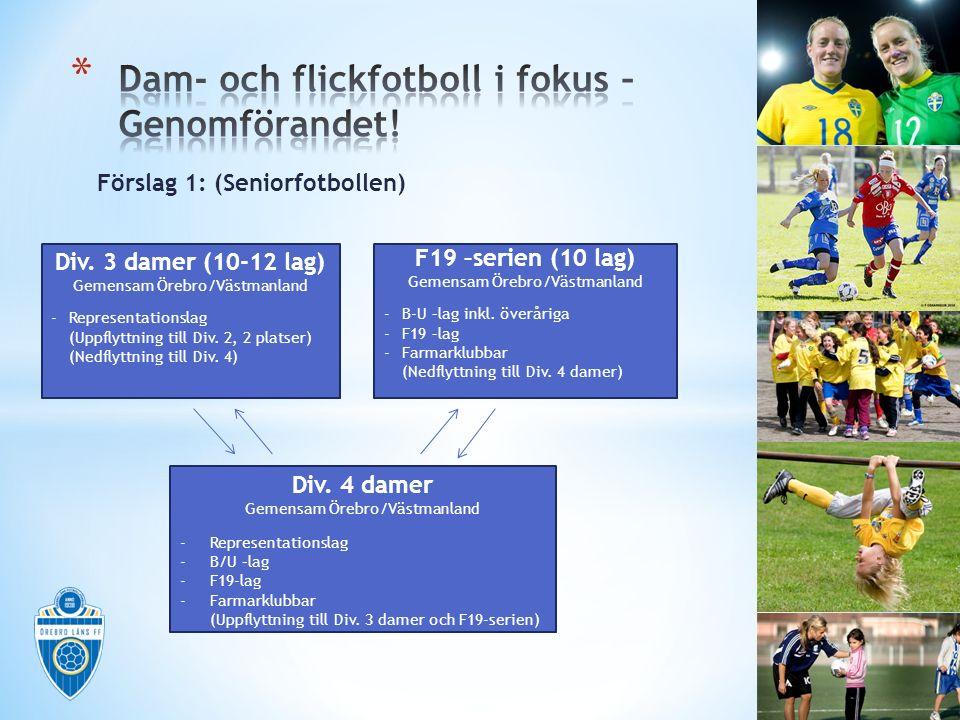 Förslag 1: (Seniorfotbollen) Div. 3 damer (10-12 lag) Gemensam Örebro/Västmanland -Representationslag (Uppflyttning till Div. 2, 2 platser) (Nedflyttn