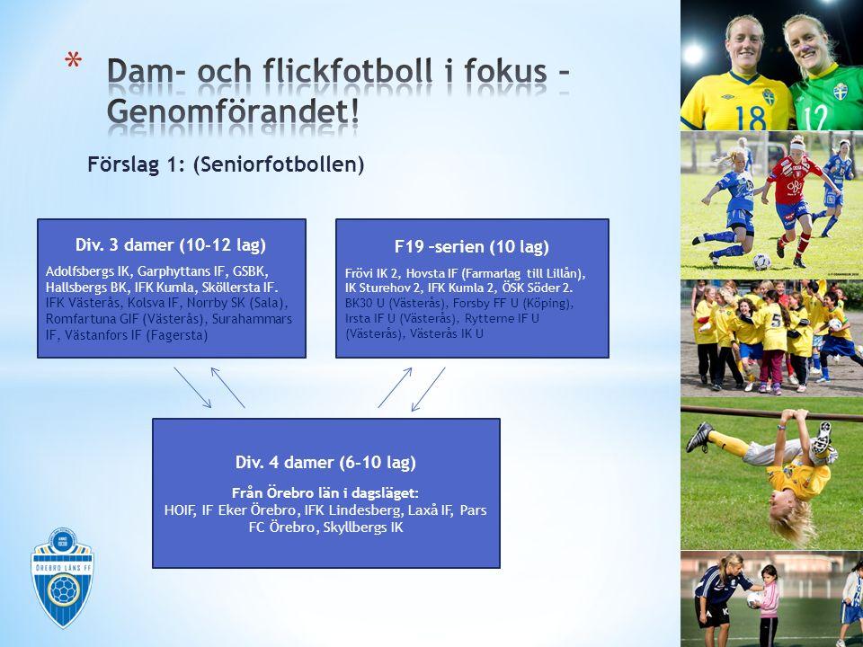 Förslag 1: (Seniorfotbollen) Div. 3 damer (10-12 lag) Adolfsbergs IK, Garphyttans IF, GSBK, Hallsbergs BK, IFK Kumla, Sköllersta IF. IFK Västerås, Kol