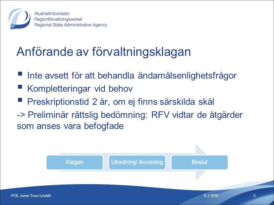 Statistik 2015 8.3.2016POL Jurist Tove Lindell16 2015SocialvårdHälsovård Anhängiga133228 Beslut186295 Anmärkning7 % Fäst uppmärksamhet13 %Tot.