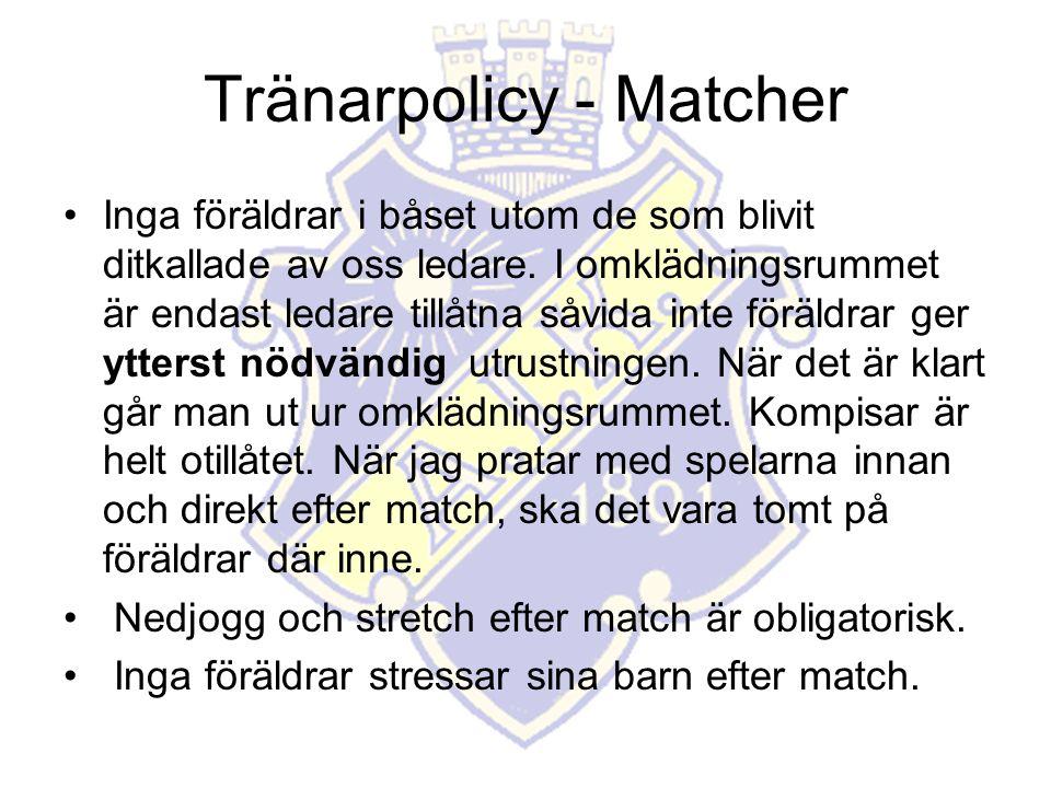 Tränarpolicy - Matcher Inga föräldrar i båset utom de som blivit ditkallade av oss ledare.