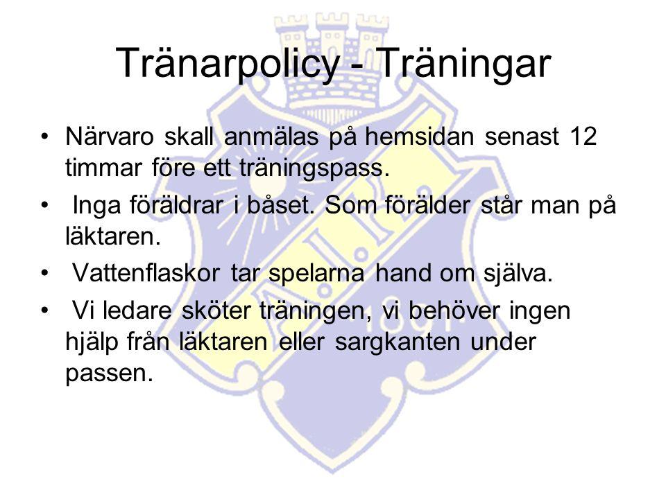 Tränarpolicy - Träningar Närvaro skall anmälas på hemsidan senast 12 timmar före ett träningspass.