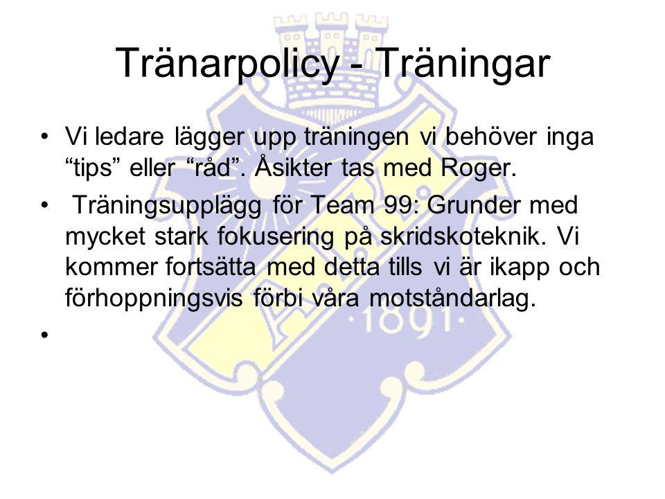 Tränarpolicy - Träningar Vi ledare lägger upp träningen vi behöver inga tips eller råd .