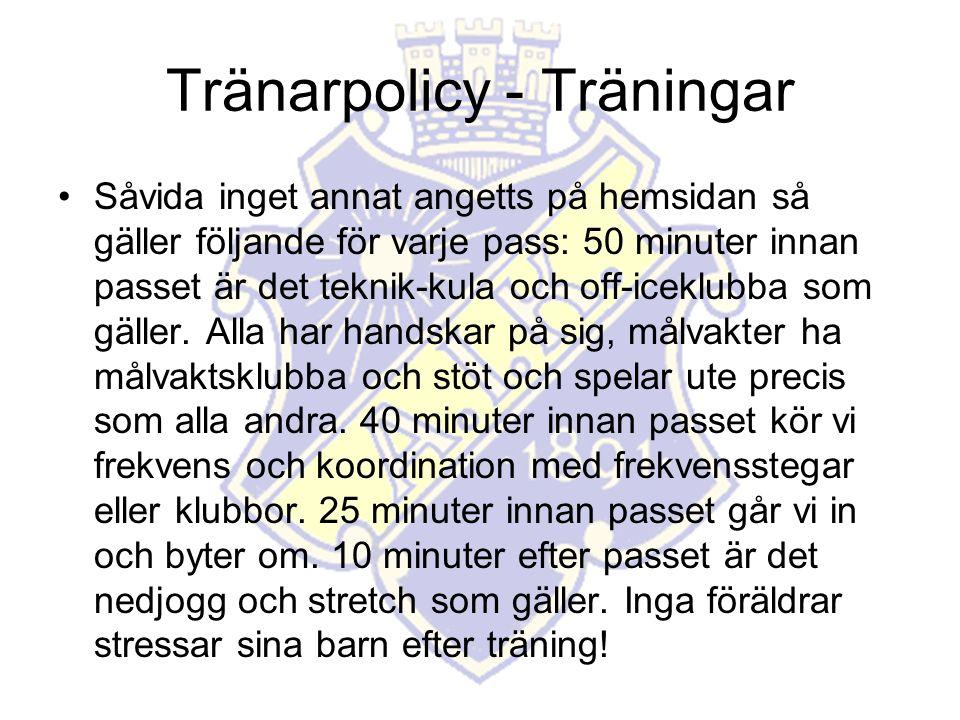Tränarpolicy - Träningar Såvida inget annat angetts på hemsidan så gäller följande för varje pass: 50 minuter innan passet är det teknik-kula och off-iceklubba som gäller.