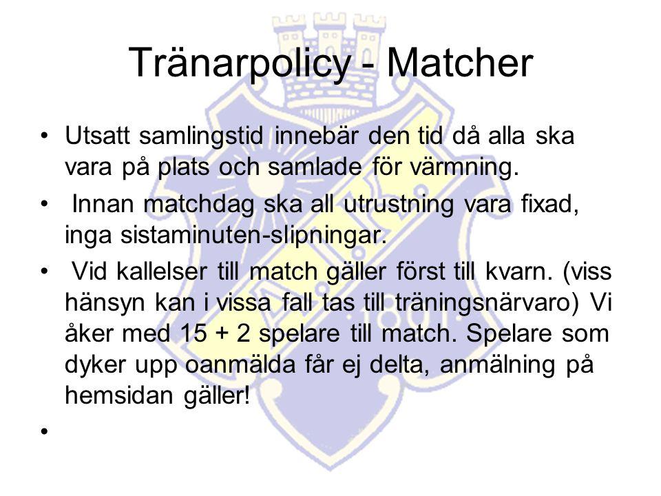 Tränarpolicy - Matcher Utsatt samlingstid innebär den tid då alla ska vara på plats och samlade för värmning.