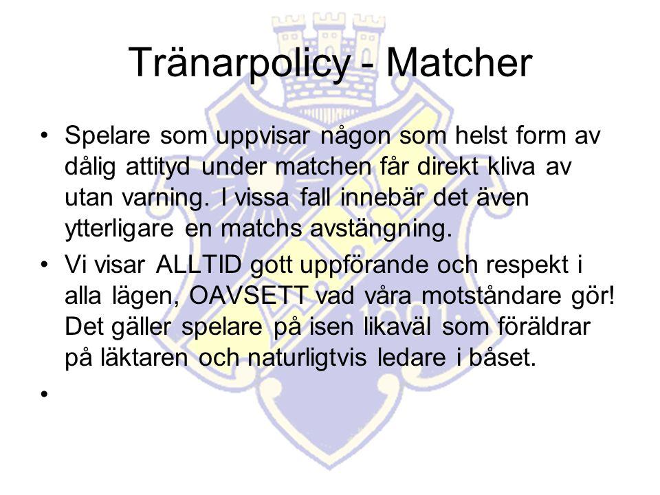 Tränarpolicy - Matcher Spelare som uppvisar någon som helst form av dålig attityd under matchen får direkt kliva av utan varning.