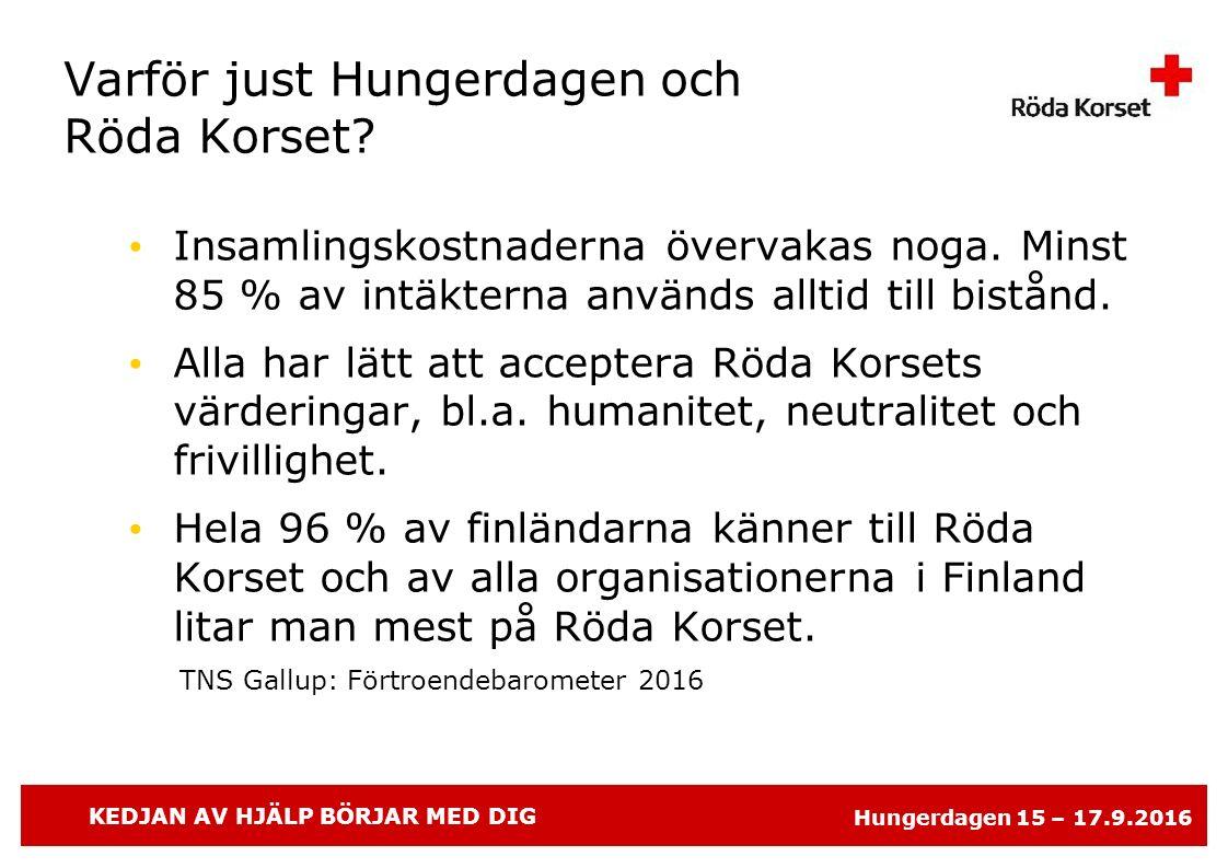 KEDJAN AV HJÄLP BÖRJAR MED DIG Hungerdagen 15 – 17.9.2016 Varför just Hungerdagen och Röda Korset.