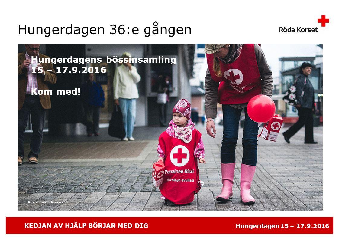 KEDJAN AV HJÄLP BÖRJAR MED DIG Hungerdagen 15 – 17.9.2016 Hungerdagen 36:e gången Hungerdagens bössinsamling 15 – 17.9.2016 Kom med! Kuva: Jarkko Mikk