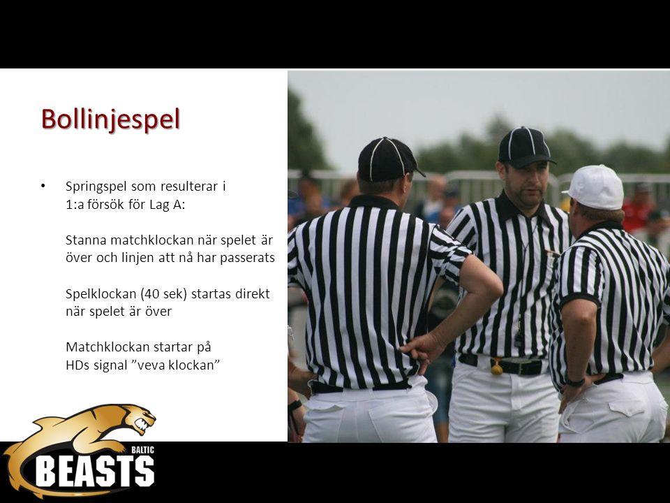 Bollinjespel Springspel som resulterar i 1:a försök för Lag A: Stanna matchklockan när spelet är över och linjen att nå har passerats Spelklockan (40