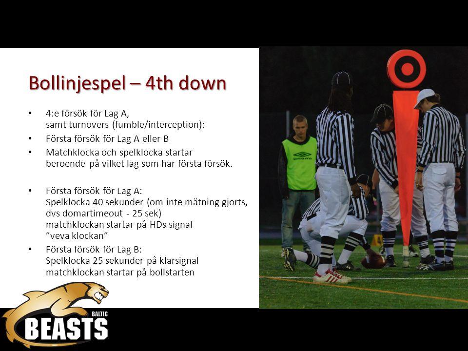 Bollinjespel – 4th down 4:e försök för Lag A, samt turnovers (fumble/interception): Första försök för Lag A eller B Matchklocka och spelklocka startar beroende på vilket lag som har första försök.