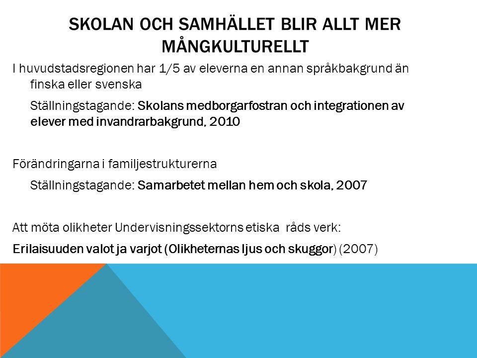 SKOLAN OCH SAMHÄLLET BLIR ALLT MER MÅNGKULTURELLT I huvudstadsregionen har 1/5 av eleverna en annan språkbakgrund än finska eller svenska Ställningsta