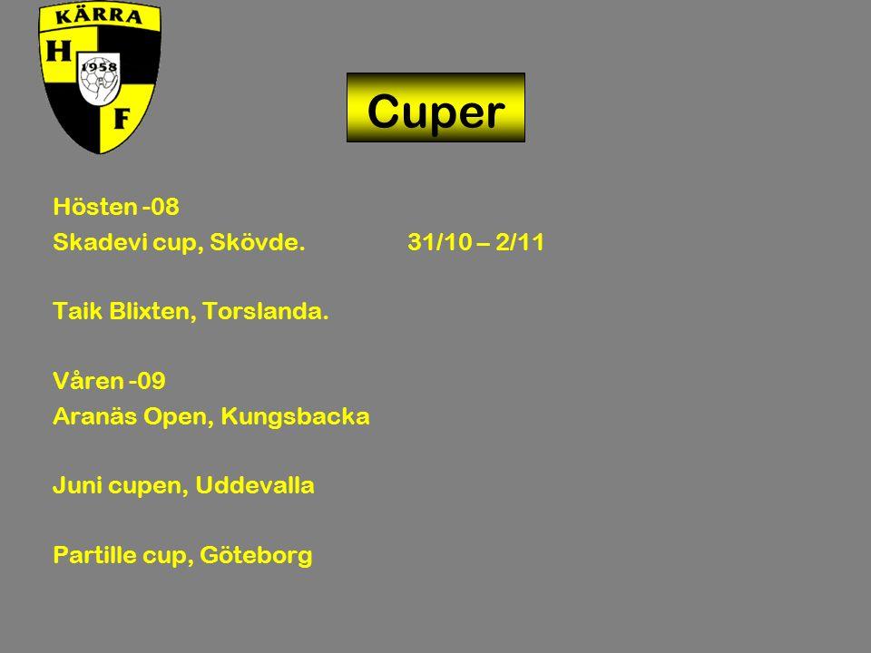 Cuper Hösten -08 Skadevi cup, Skövde. 31/10 – 2/11 Taik Blixten, Torslanda.