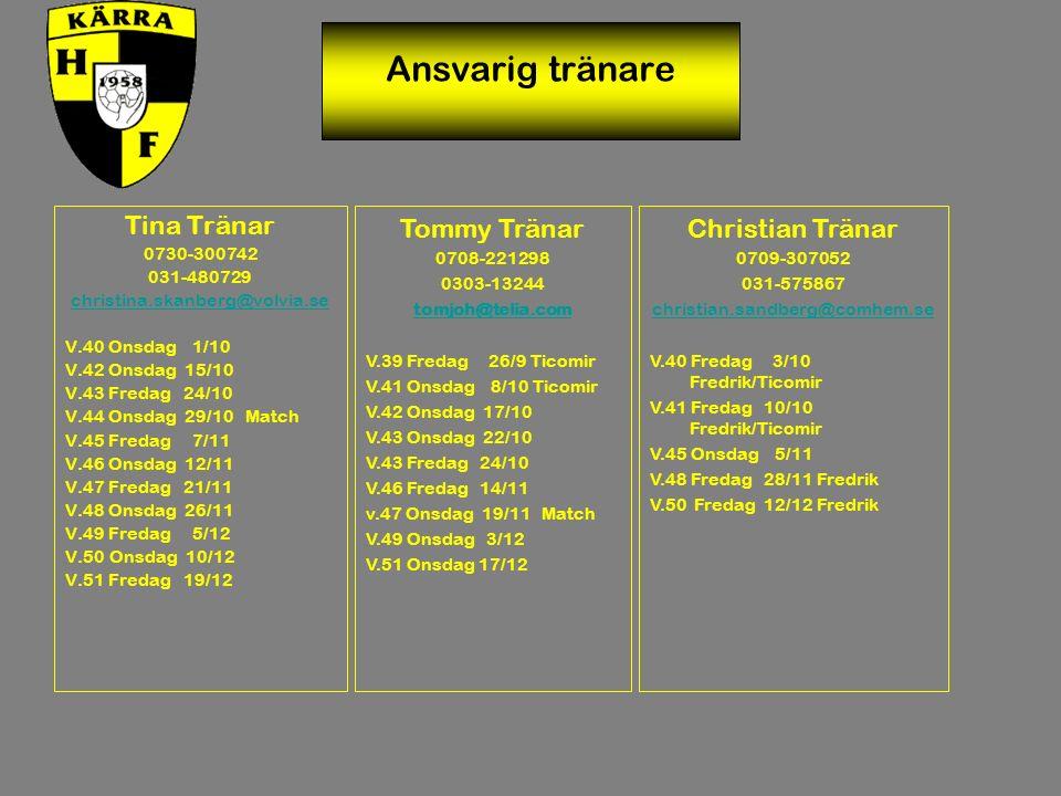 Ansvarig tränare Tina Tränar 0730-300742 031-480729 christina.skanberg@volvia.se V.40 Onsdag 1/10 V.42 Onsdag 15/10 V.43 Fredag 24/10 V.44 Onsdag 29/10 Match V.45 Fredag 7/11 V.46 Onsdag 12/11 V.47 Fredag 21/11 V.48 Onsdag 26/11 V.49 Fredag 5/12 V.50 Onsdag 10/12 V.51 Fredag 19/12 Tommy Tränar 0708-221298 0303-13244 tomjoh@telia.com V.39 Fredag 26/9 Ticomir V.41 Onsdag 8/10 Ticomir V.42 Onsdag 17/10 V.43 Onsdag 22/10 V.43 Fredag 24/10 V.46 Fredag 14/11 v.47 Onsdag 19/11 Match V.49 Onsdag 3/12 V.51 Onsdag 17/12 Christian Tränar 0709-307052 031-575867 christian.sandberg@comhem.se V.40 Fredag 3/10 Fredrik/Ticomir V.41 Fredag 10/10 Fredrik/Ticomir V.45 Onsdag 5/11 V.48 Fredag 28/11 Fredrik V.50 Fredag 12/12 Fredrik