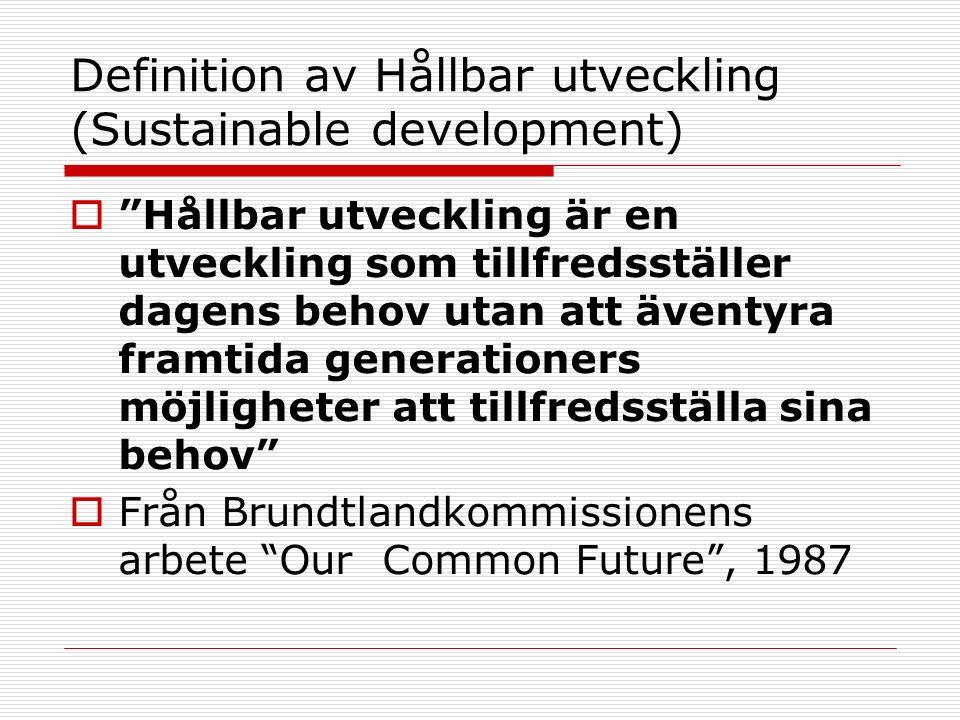 Definition av Hållbar utveckling (Sustainable development)  Hållbar utveckling är en utveckling som tillfredsställer dagens behov utan att äventyra framtida generationers möjligheter att tillfredsställa sina behov  Från Brundtlandkommissionens arbete Our Common Future , 1987