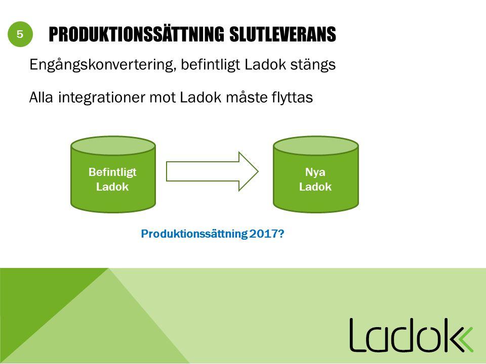 5 PRODUKTIONSSÄTTNING SLUTLEVERANS Engångskonvertering, befintligt Ladok stängs Alla integrationer mot Ladok måste flyttas Befintligt Ladok Nya Ladok Produktionssättning 2017
