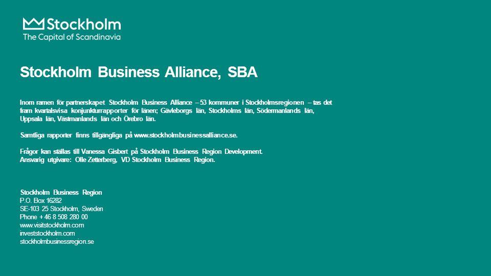 Stockholm Business Alliance, SBA Inom ramen för partnerskapet Stockholm Business Alliance – 53 kommuner i Stockholmsregionen – tas det fram kvartalsvisa konjunkturrapporter för länen; Gävleborgs län, Stockholms län, Södermanlands län, Uppsala län, Västmanlands län och Örebro län.