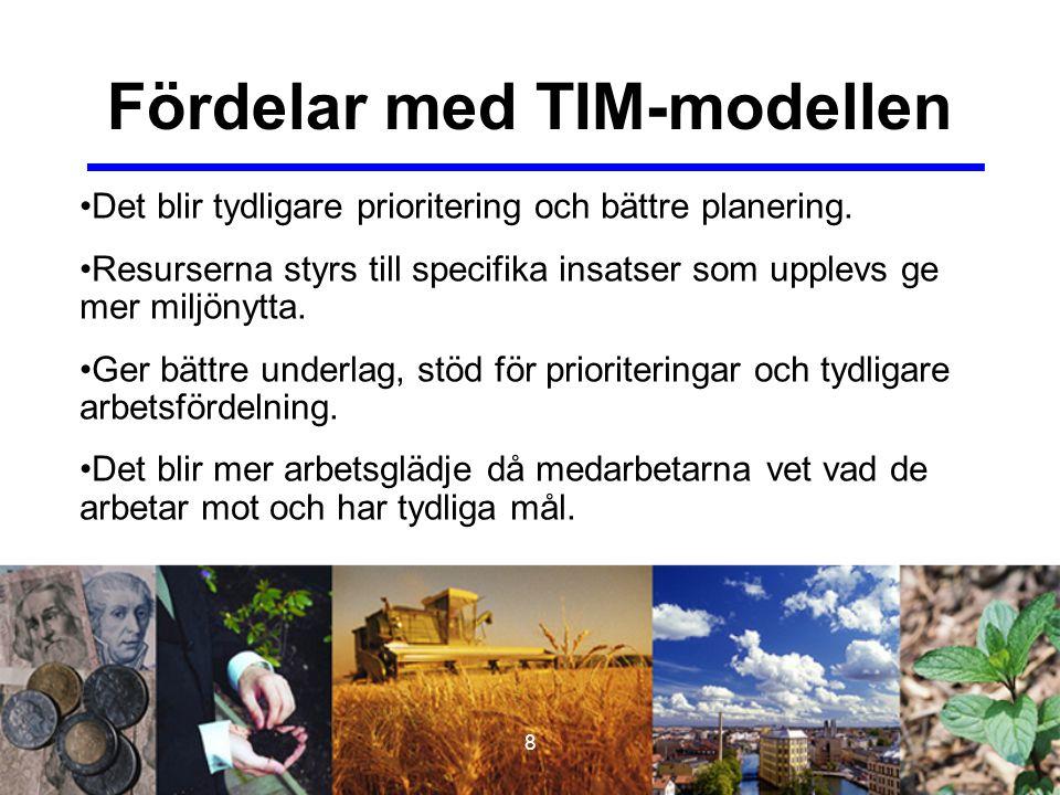 8 Fördelar med TIM-modellen Det blir tydligare prioritering och bättre planering. Resurserna styrs till specifika insatser som upplevs ge mer miljönyt