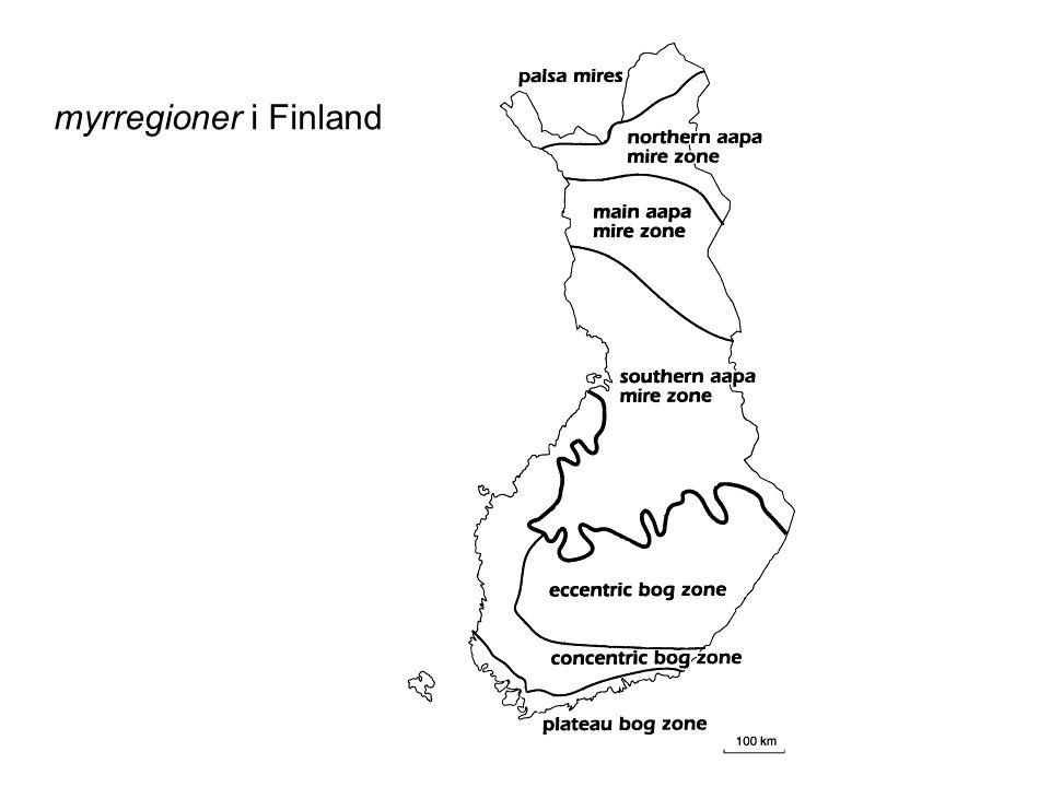 Hydrologiska system ombrogen (mosse) minerogen = geogen (kärr, sumpskog) –soligen (sluttande kärr) –topogen (plant kärr) –limnogen (vid öppet vatten; å eller sjö) –marin (saltmader, mangrove)