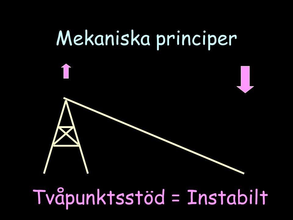 Mekaniska principer Tvåpunktsstöd = Instabilt
