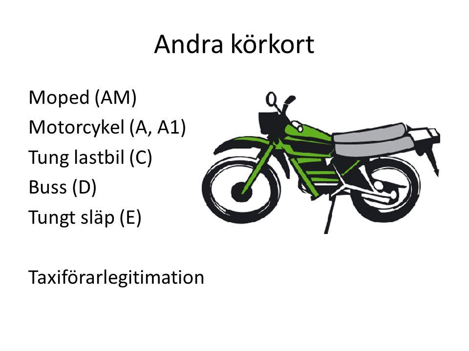 Andra körkort Moped (AM) Motorcykel (A, A1) Tung lastbil (C) Buss (D) Tungt släp (E) Taxiförarlegitimation