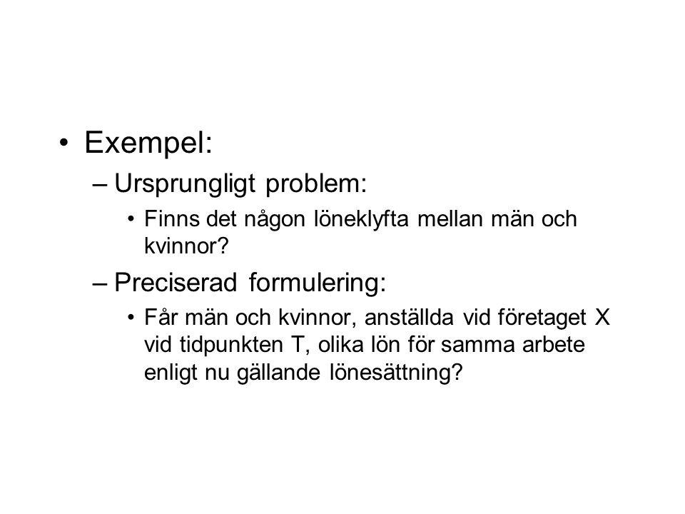 Exempel: –Ursprungligt problem: Finns det någon löneklyfta mellan män och kvinnor? –Preciserad formulering: Får män och kvinnor, anställda vid företag