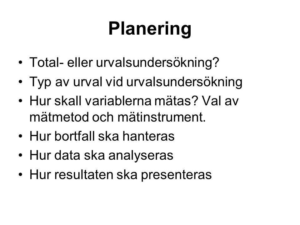 Planering Total- eller urvalsundersökning? Typ av urval vid urvalsundersökning Hur skall variablerna mätas? Val av mätmetod och mätinstrument. Hur bor