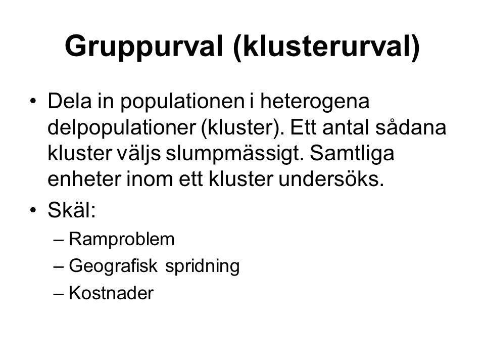 Gruppurval (klusterurval) Dela in populationen i heterogena delpopulationer (kluster). Ett antal sådana kluster väljs slumpmässigt. Samtliga enheter i
